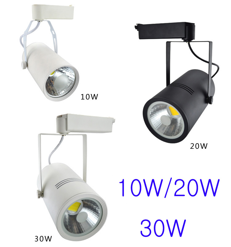 AC90-260V Led Spot Track Light 30W Led Shop Lighting  White/Black Aluminum Body Free Shipping