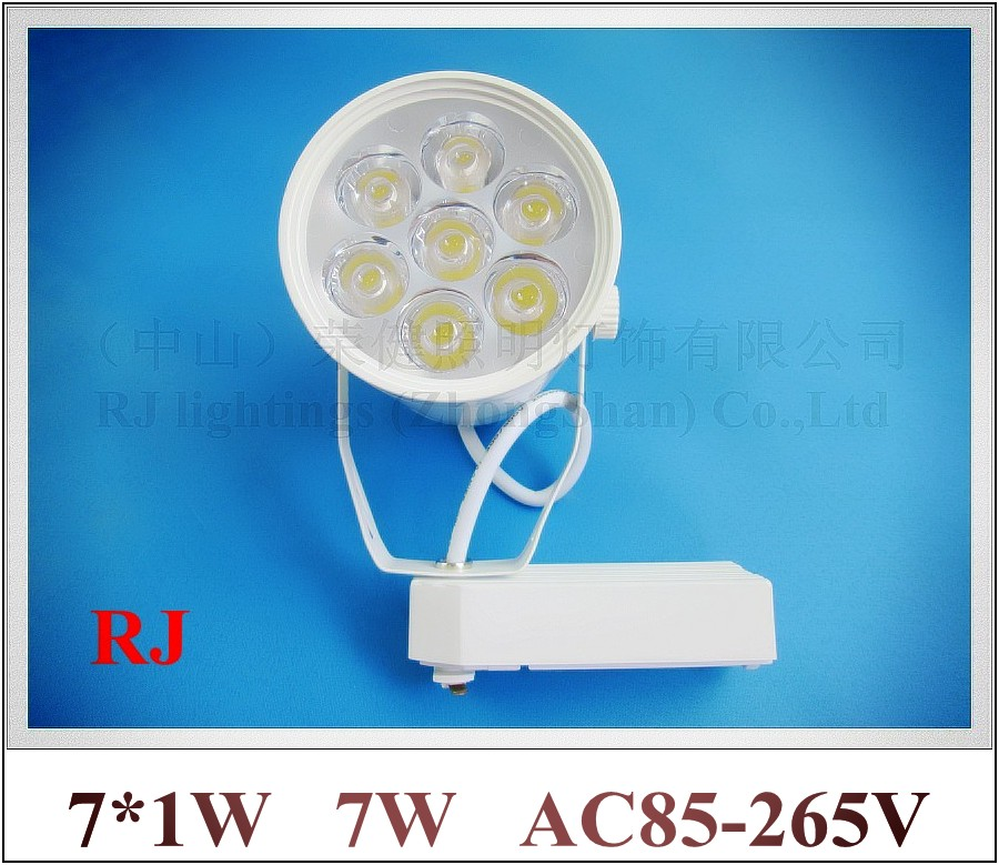 high power LED rail spot lamp light LED track light spotlight 7W AC85-265V 7LED 7*1W white/warm white CE ROHS free shipping