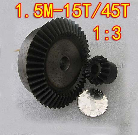 1.5M-15T/45T- 1:3 Umbrella gear steel 45 surface hardening bevel gear-Dimaeter:24/69mm