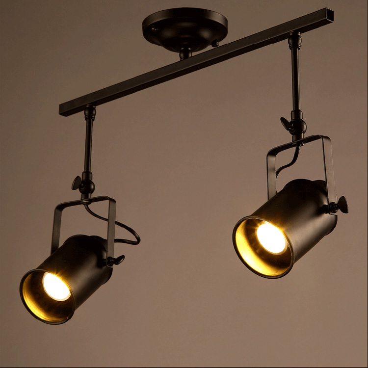 1 2 3 4 heads Industrial Track Lighting  Black Iron Rotatable Track Lighting retro industrial Bedroom dinning lamp