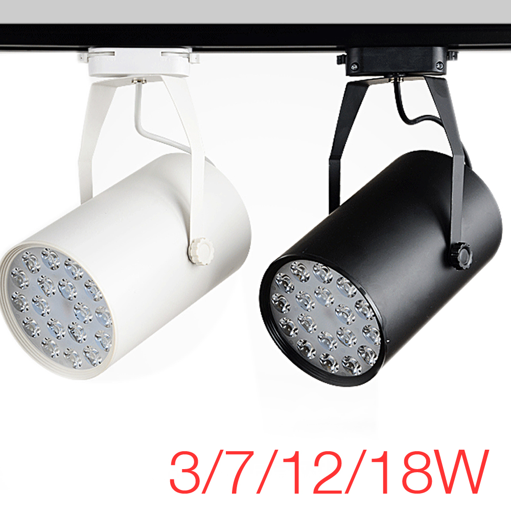 High Power LED Track Light 3W / 7W / 12W / 18W Rail Aluminum Lamp for Commercial Retail Spotlight Lighting Modern Design