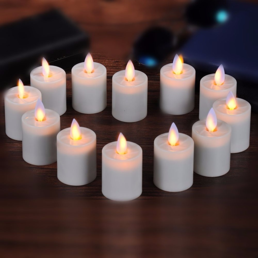 6pcs Moving Wick 1.5 X 2.6 Inch Votives Flameless Candles Tea Lights With Remote and Timer (Ivory) For Home Decoration and Party