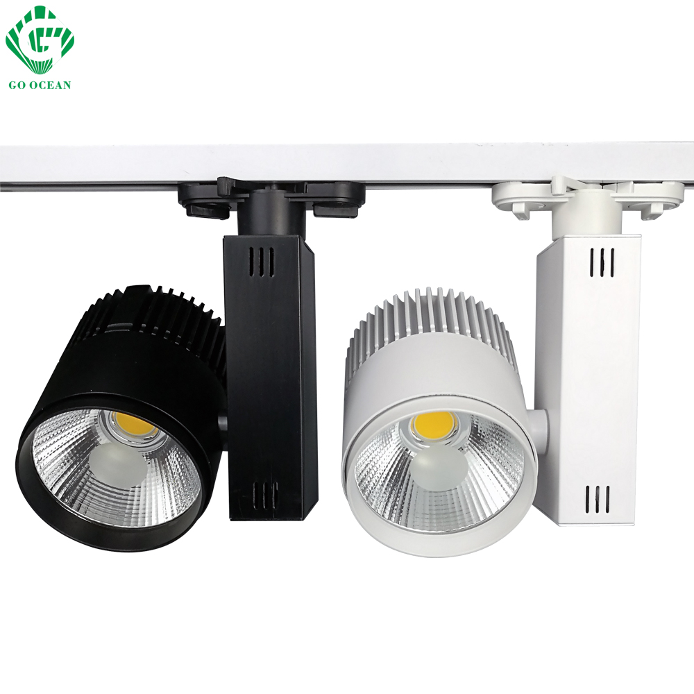 GO OCEAN Track Lighting LED Track Lamp 30W Black White Aluminum Modern Spot Light LED Rail Lighting Systems Rail Light
