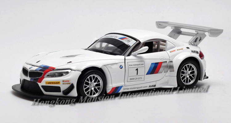 1:32 Scale Diecast Alloy Metal Racing Car Model For TheBMW Z4 GT3 Collection Model Pull Back Toys Car With Sound&Light - White