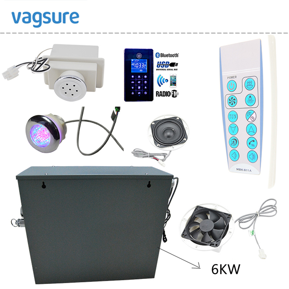Waterproof IPX5 new bluetooth steam controller MP3USB/ FM radio LED therapy lighting 6KW shower steam generator sauna