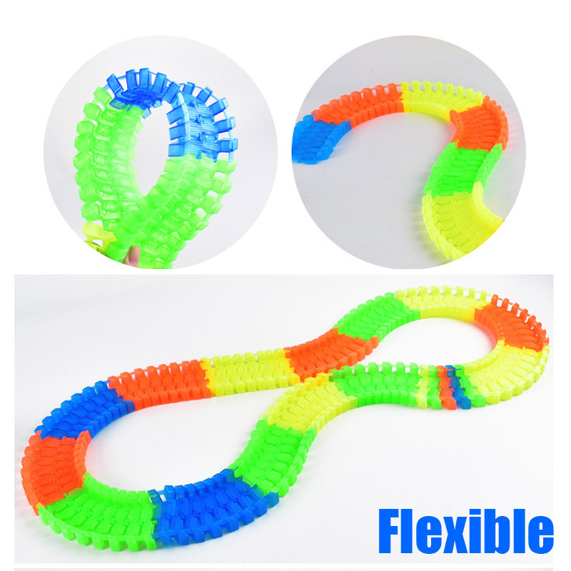 160PCS Slot Glow in the Dark Glow race track Create A Road Bend Flexible Tracks with 1PCS LED Light Up Cars Educational Toys