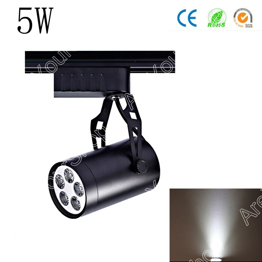 Areyourshop 2 Colors 5W AC LED Track Rail Ceiling Spot Light Downlight Shop Lamp Aluminum Black Whit