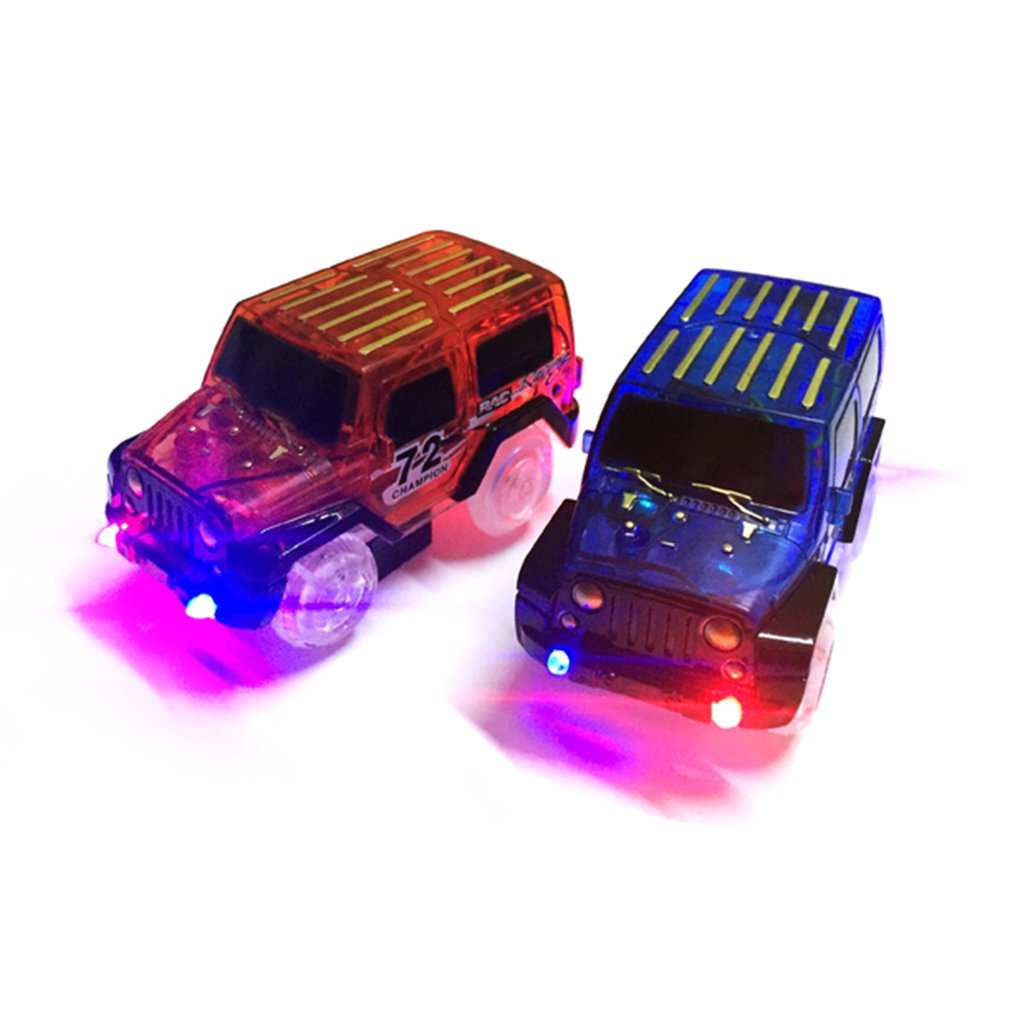 LED light up Cars for Glow Race Tracks Electronics Car Toys With Flashing Lights cars For Kid Machines DIY Fancy Track parts Car