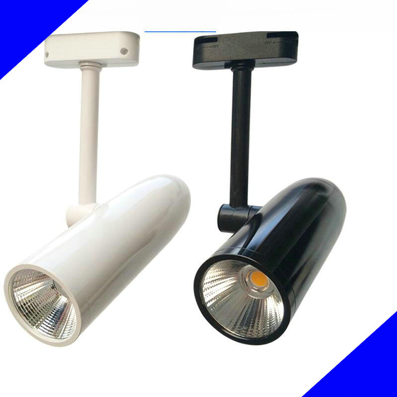 360 Degree Adjustable 15w 20w Led Track Lighting Cob Rail Light Aluminum Bullet Type Black White Shell Ac85-265v Ce Ul Saa