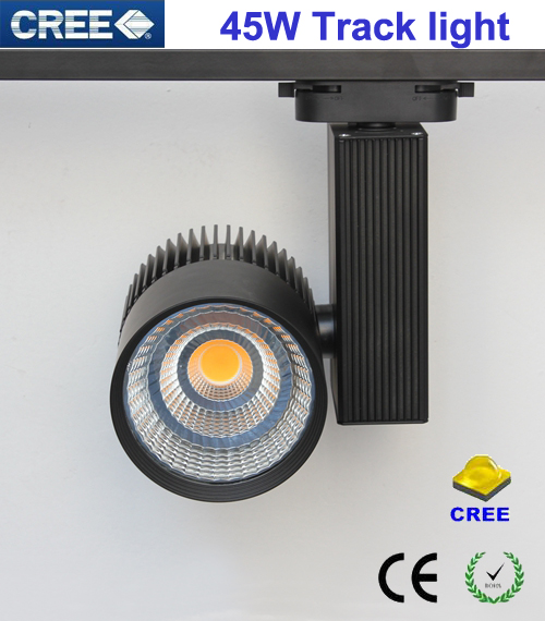 100-240v 45w Black/white Housing  80ra Cree Cob Led Track Light 60 Degree Beam Angle Ce Rohs
