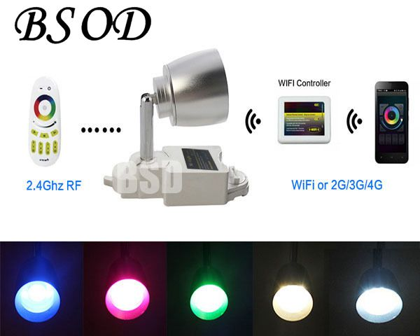 Track Rail Spot Light Lamp 2.4G  WiFi Phone Control  LED RGBCW 7W 86-265V Color Changing Two Lines Adjustable