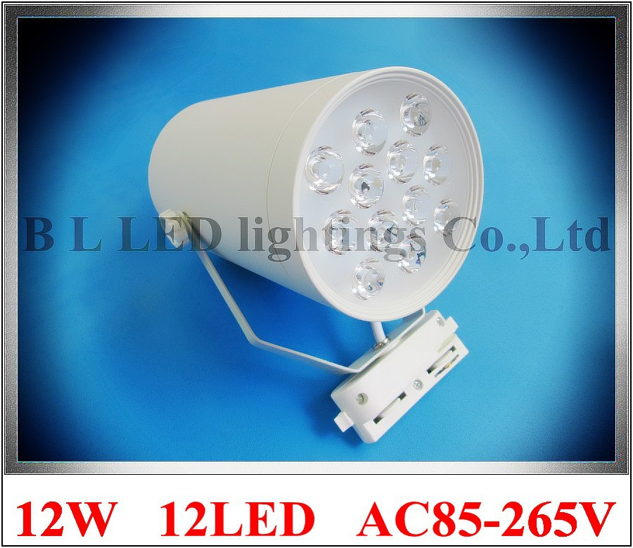 high power LED rail spot lamp light LED track light spotlight 12W AC85-265V 12LED 12*1W white/warm white CE ROHS free shipping