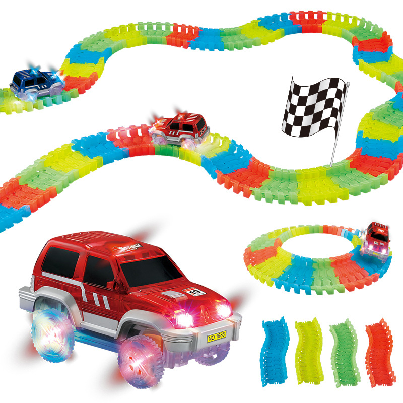 Magic Glowing Car Race Track 2017 Miraculous Assembly Bend Flex Set Hot Wheels Car Toy Flashing Lights Flash in the Dark Toys