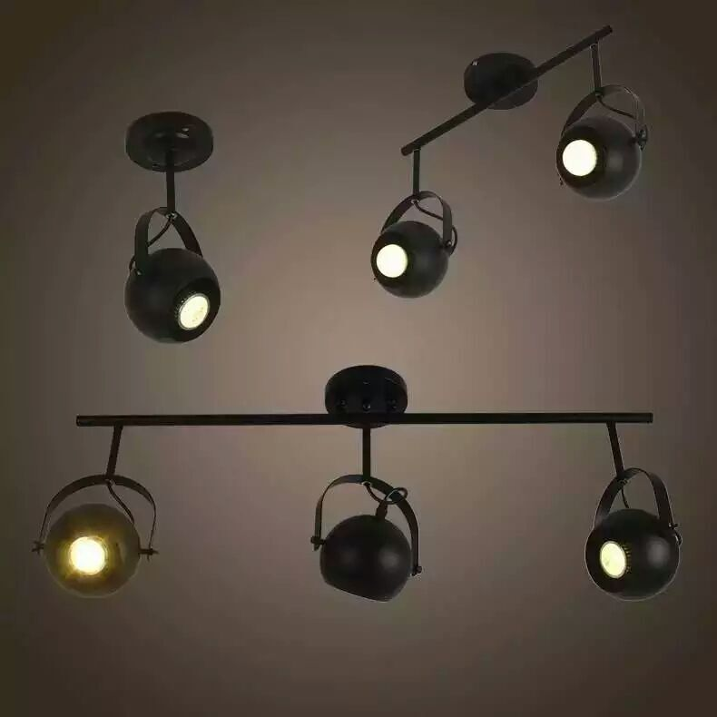 Free shipping 1 2 3 4 heads Industrial Track Lighting  Black ball Iron  Track Lighting retro industrial Bedroom dinning lamp