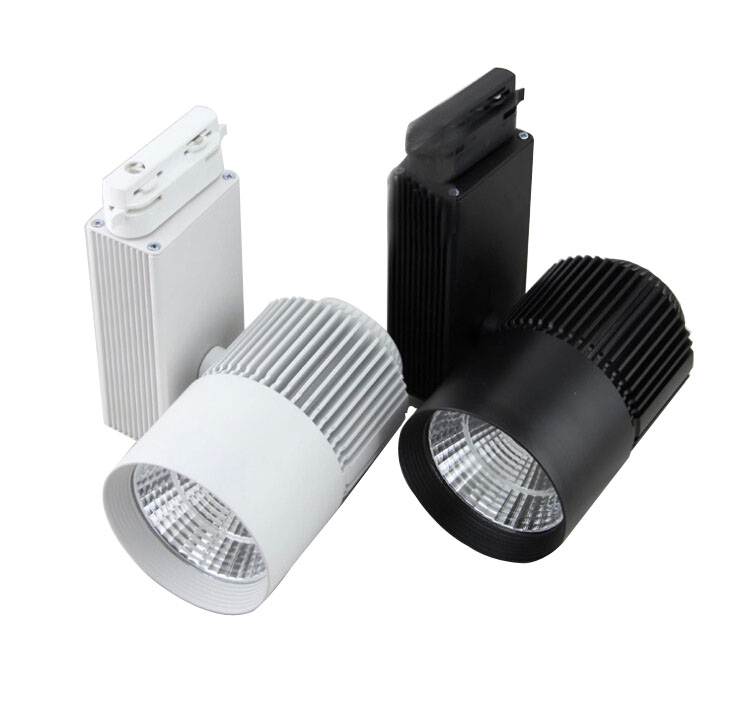 2pcs/lot  30W Black/White Housing 80Ra CREE COB LED Track Light 24 degree beam angle free shipping