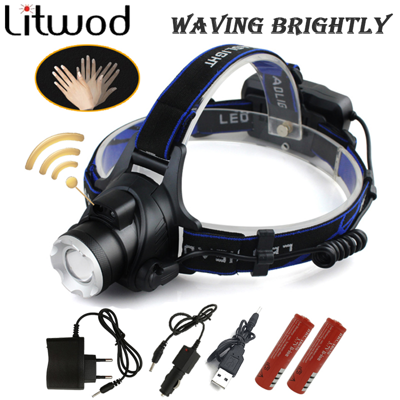 Litwod Z30568-B Induction LED Headlight Aluminum XM-L T6 led headlamp zoom head flashlight adjustable head lamp front light