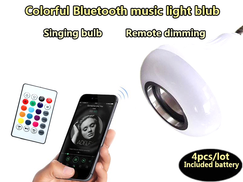 4pcs/lot Smart LED Lamp RGB Wireless Bluetooth E27 LED Bulb Audio Speaker RGB Music Playing Light Lamp With remote Control