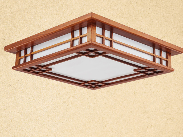 Asian Chinese/Japanese Style Ceiling Lamp Led Mahogany Finish Wood Lights Ceiling Lamps Bedroom Living Room Decorations Lighting