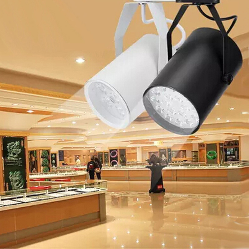 4pcs/lot 12W Noverty led track lighting AC85-265V aluminum white and black shell rail ceiling light spotlight best price