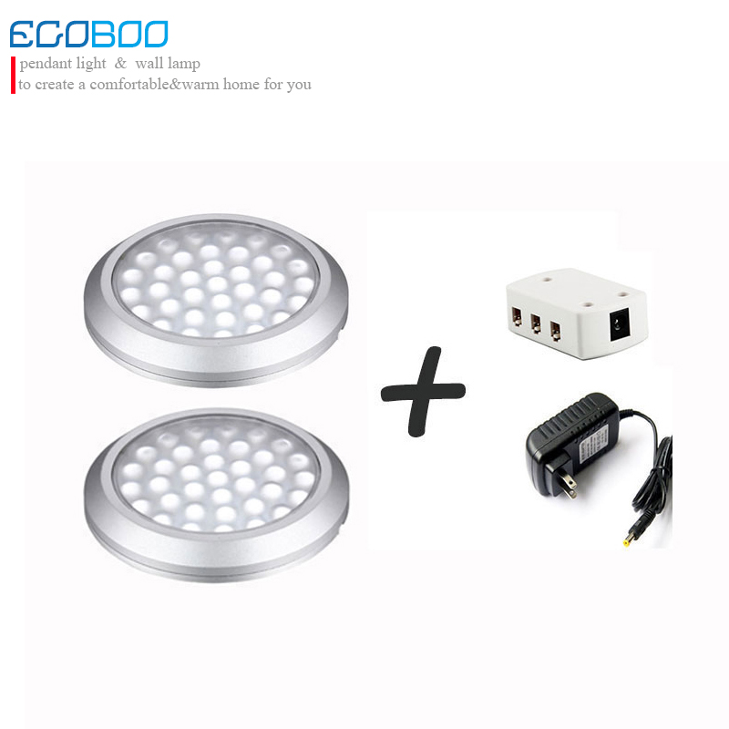 EGOBOO 3w 12v 2lamps +1 splitter +1 power adapter under cabinet cupboard light for home decoration