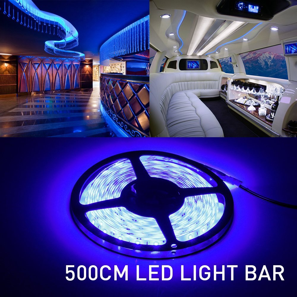 Led Strip Lights, Light Outdoor Strips 16.4ft 5M 300 Leds 2835 Waterproof Blue Lighting White PCB Power Supply For Home and Kitc