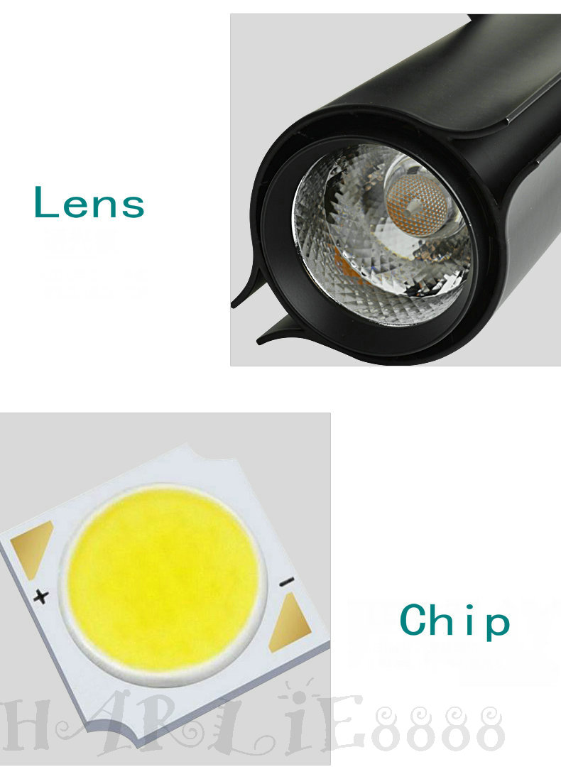 30W COB LED Track spotlight tracks lamp Bulb indoor kitchen home Lighting AC85V~265V with White shell CE ROHS Warranty 3 years