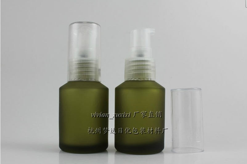 50pcs wholesale 30ml light green frosted round lotion bottle, empty green glass 1 ounce cosmetic bottles for liquid cream