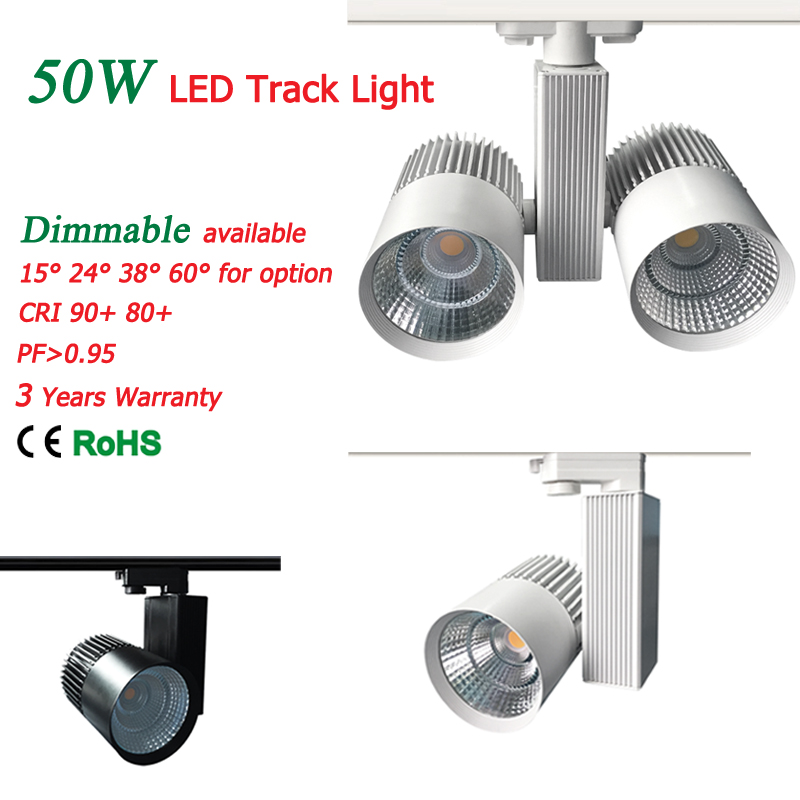 LED Track Light COB 50W with Cree Chips Europe 4wire Ceiling track rail lights for Pendant Kitchen Clothing Store 110lm/W