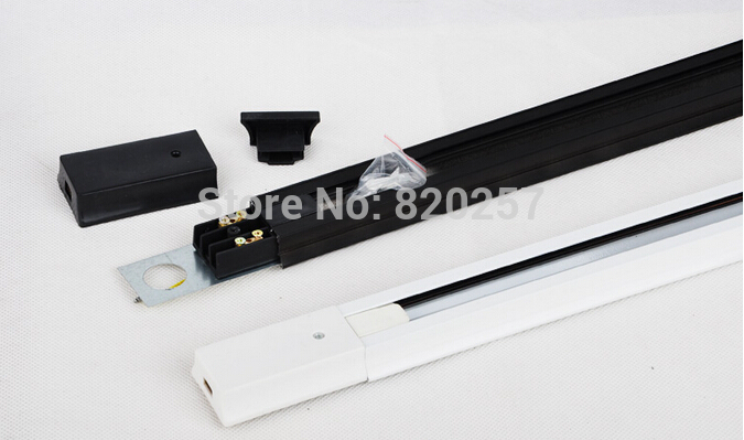 wholesale 1Meter tracklight rail for track lighting fixture, 2 wire 6pcs/lot Black,White,Silver aluminum track rail
