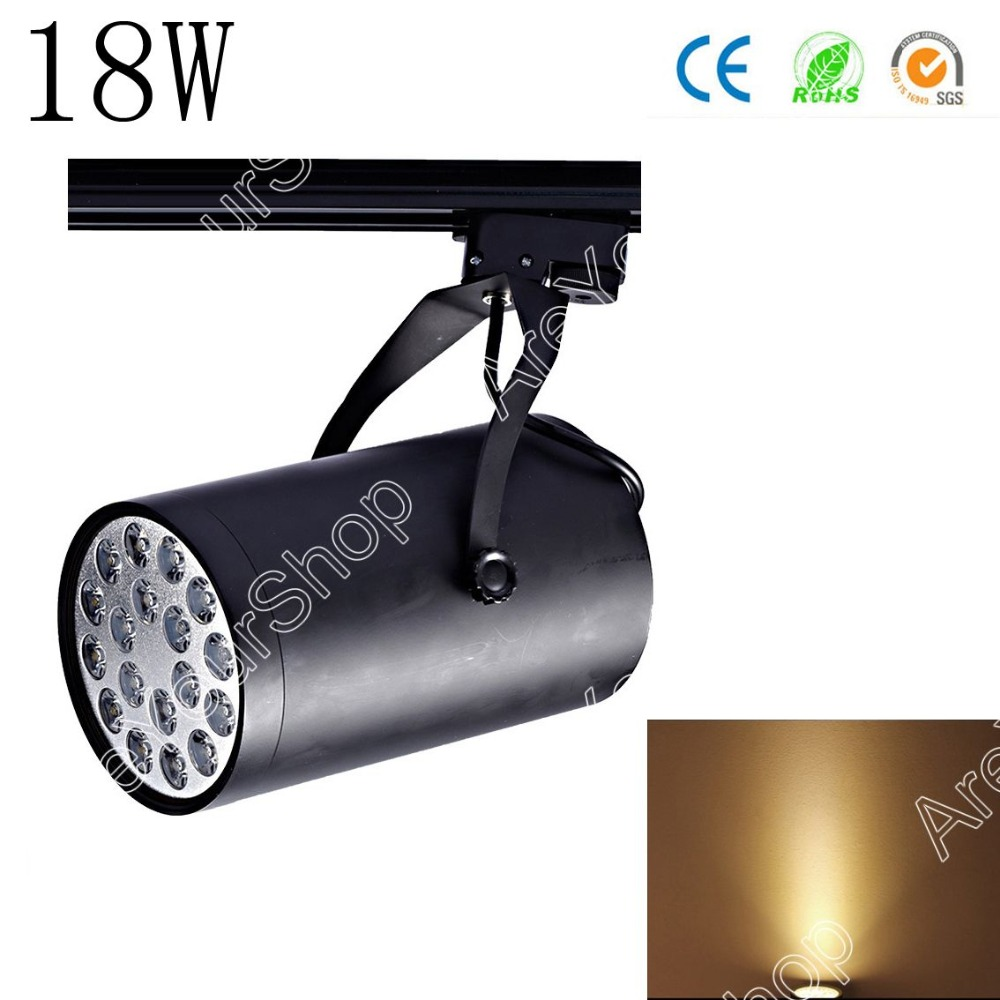 Areyourshop Sale Black White 18W AC LED Track Rail Ceiling Spot Light Downlight Shop Lamp Bulb Alumi