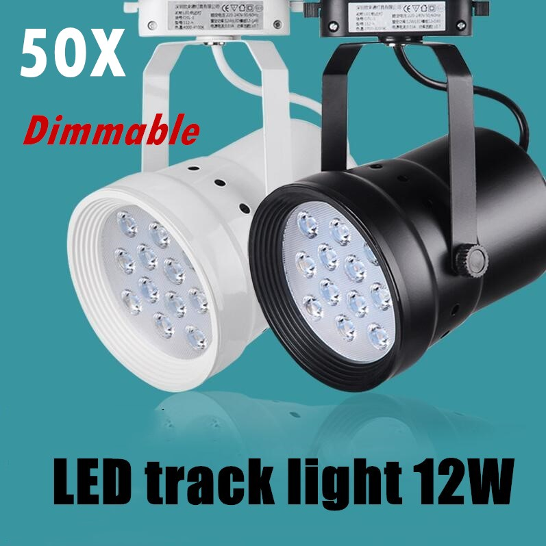 50X LED Track Light Dimmable 12W  Rail Lamp 130-140lm/W Spotlight Shoe Clothing Store Shop Lights Supermarket Indoor Lighting