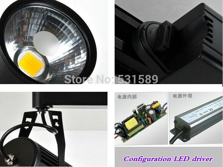 10pcs/lot Free shipping 20w LED Track Spotlight 85~100LM/W Track light AC85~265V,Integrated chips 2 PIN