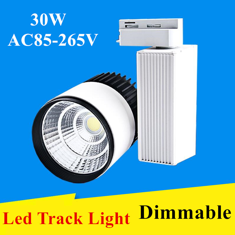 DHL LED Track Light 30W Dimmable COB Rail Light Spotlight Lamp Replace 300W Halogen Lamp 110v 120v 220v 230v 240v Spot Lamp Bulb