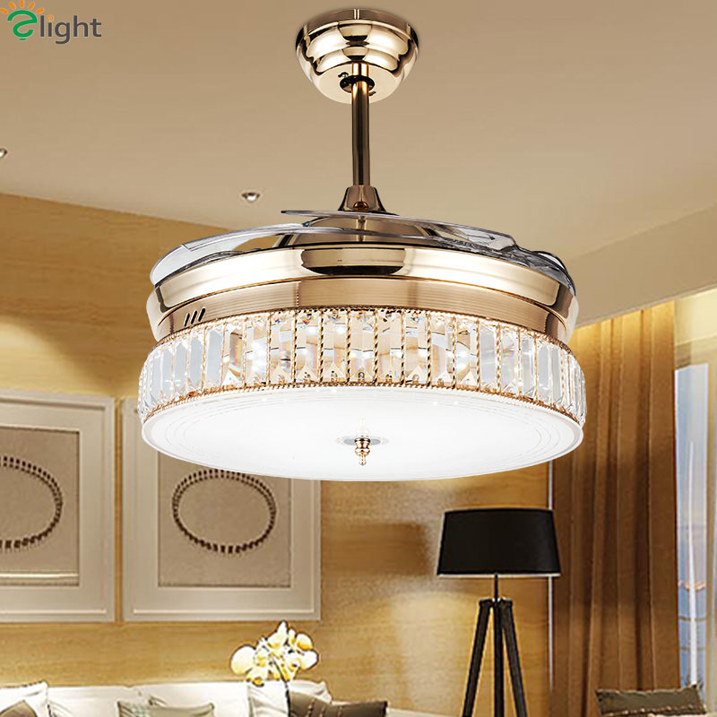 Modern Invisible Acrylic Led Ceiling Fan Lights Lustre Crystal Dining Room Led Ceiling Fans Lamp Gold Metal Led Lighting Fixture