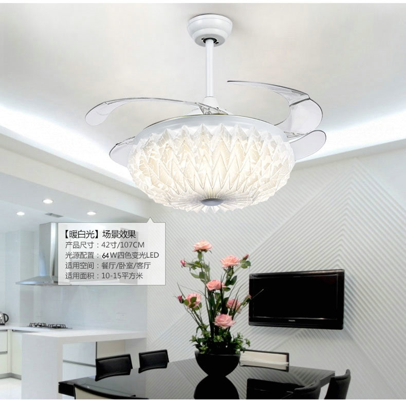 42 Inch 107cm Invisible Ceiling Fan Modern/Contemporary White Feature for LED Metal Bedroom Dining Room Study Room/Office