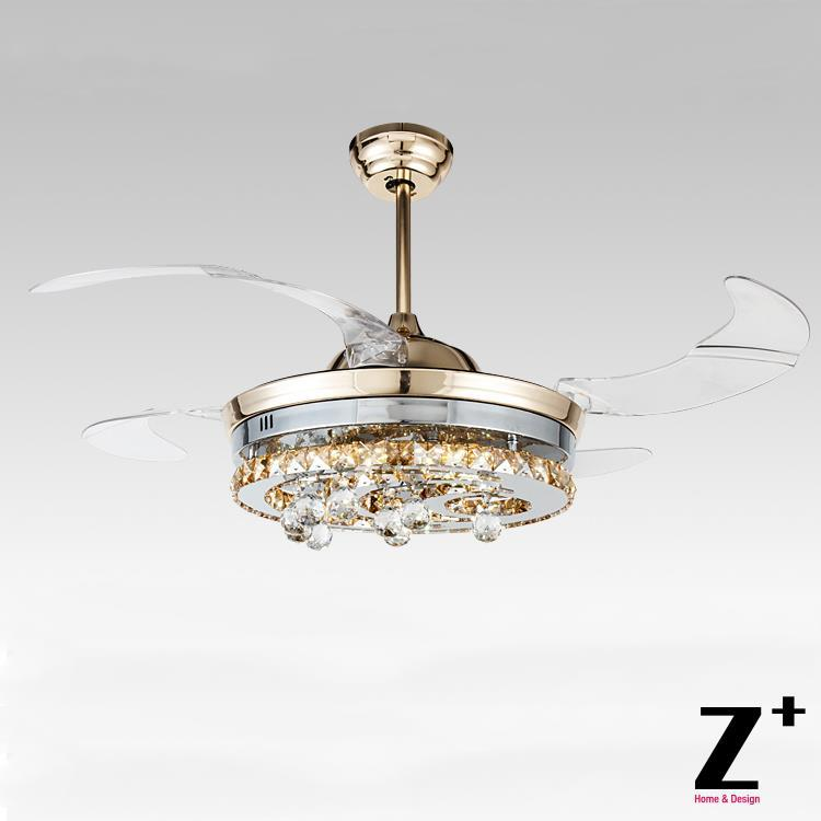 "American modern Style Led lights 4 Collapsible fan Crystal Chandelier Remote Control Polished Gold 42""  free shipping"