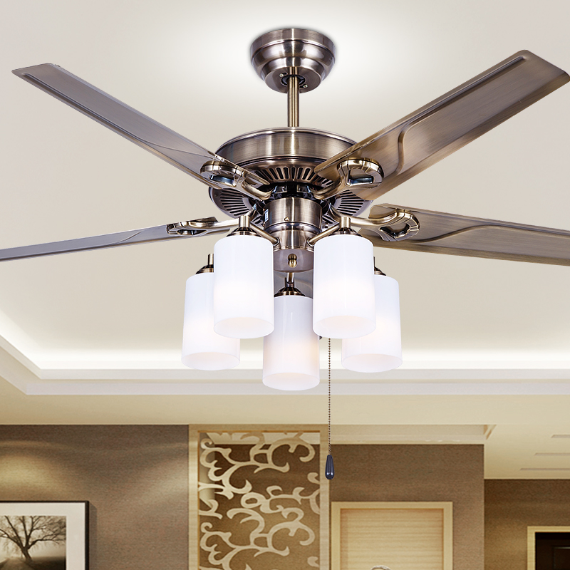 European style retro iron leaf dining room bedroom ceiling fan light lamp fan fan household ceiling fan with a lamp