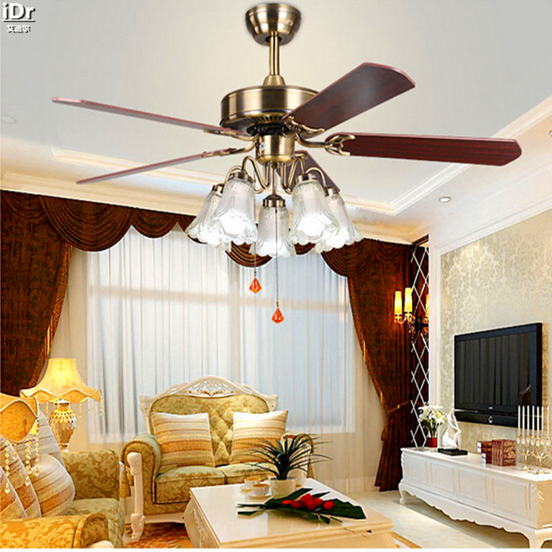 Continental retro dining room den bedroom ceiling fan light 52 inch ceiling fan with light leaf Ceiling Fans  Rmy-0224