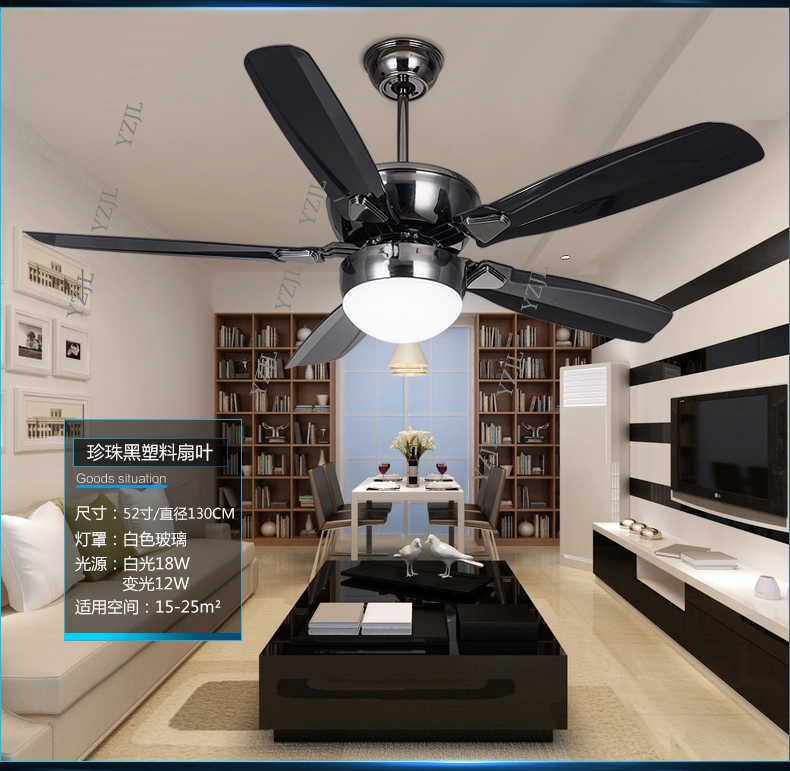 DC inverter LED fan light ceiling fans minimalism modern dining room ceiling fan light living room 52inch lamp ceiling fan
