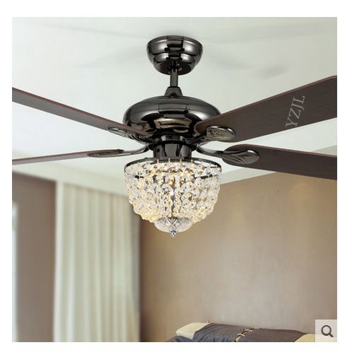 52inch modern minimalist restaurant LED restaurant fashion Crystal fan light ceiling fan with remote control fan light ceiling