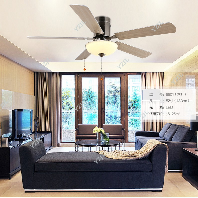 52 European Classical Copper Iron Leaf Led E27*5 Ceiling Fan Light For Dining Room Living Room Bedroom Deco 1587 Ceiling Fans