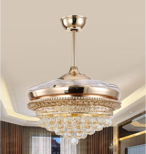 LED chips luxury ceiling fan light ceiling fan ceiling light crystal with remote control simple modern France gold 42inch