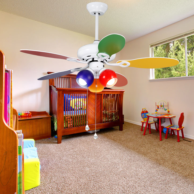 Ceiling fan Children's room off the light dinner hall color fan light with wooden lamp fan Restaurant ZH FS11