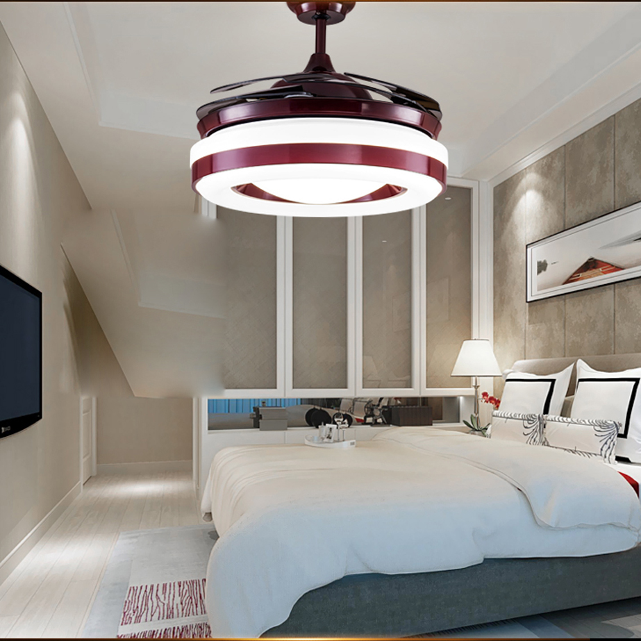 LED Nordic Iron Acrylic Red Ceiling Fan.LED Lamp.LED Light.Ceiling Lights.LED Ceiling Light.Ceiling Lamp For Foyer Bedroom