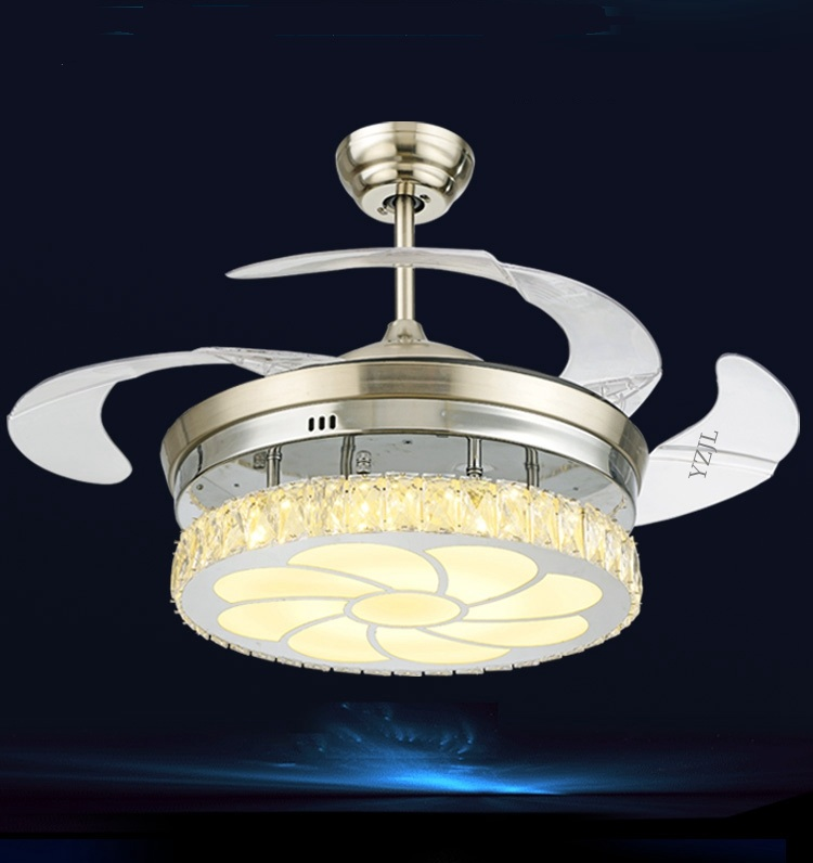 42inch restaurant simple modern chandelier crystal fan lights white LED fan light chandelier living room fans remote control