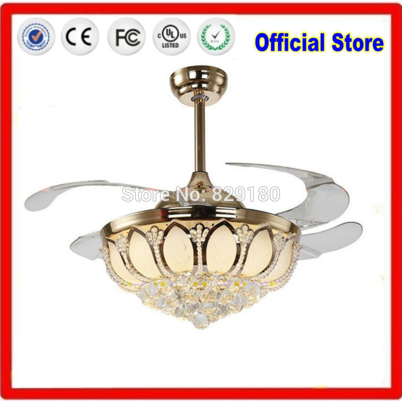 K9 Modern Ceiling Fan Crystal Ventilador De Teto Remote Control With Lights Invisiable LED Folding Ceiling Fan Dining Room Lamp