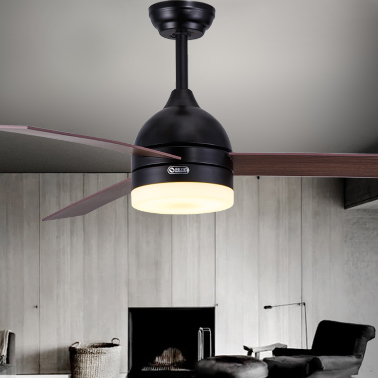Ceiling fan Black / white leaf fan lights 48 Inch dining room ceiling fan lamp remote control LED lamp fan mail package FS15