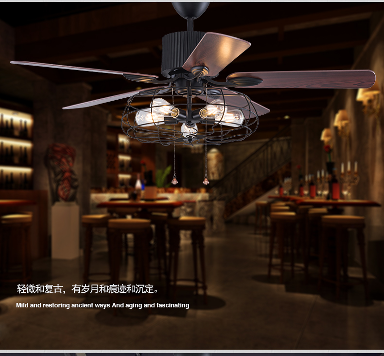 Loft industrial E27 fan chandelier vintage restaurant quiet home LED remote control fan chandeliers with light