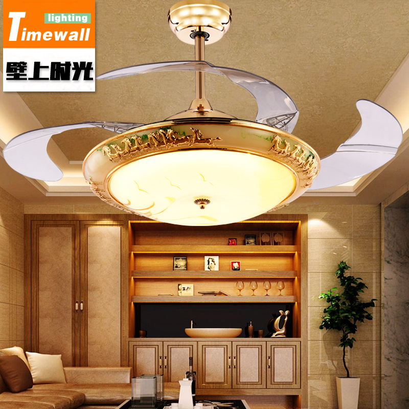 European stealth fan lamp chandelier crystal glass fan lamp living room dining room bedroom quiet fan lamp