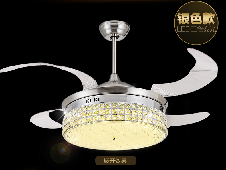 Fan chandelier fan lamp crystal 42inch chandelier living room dining room indoor simple modern fan lamp LED with remote control